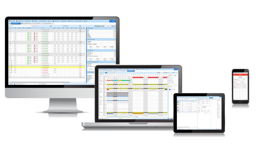 Pc, laptop, ipad en smartphone voor de tijdregistratie